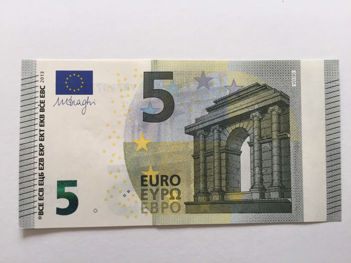 European Union - Spain - 5 euro 2013 - Draghi - White strip -Without hologram