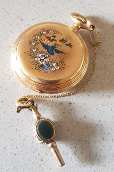 06. Girard Perregaux Chaux de Fonds – jewellery double mantel pocket watch – enamel work –  around 1860