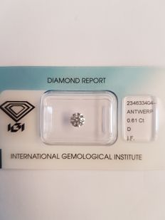 Brilliant cut diamond 0.61 ct, D, IF