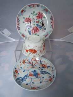 Three pieces of porcelain tea ware - China - 18th century