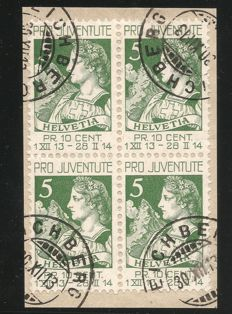 Switzerland – Projuventute 11 pcs Blocks of four from J1 1913!