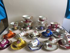 31-Piece lot of porcelain cups and saucers, 7 with mother of pearl
