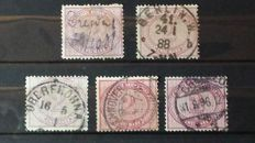 German Reich 1875 Selection of stamps from Michel 37 cancelled.