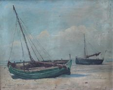 P. Steyaert - early 20th century - Boten op het strand