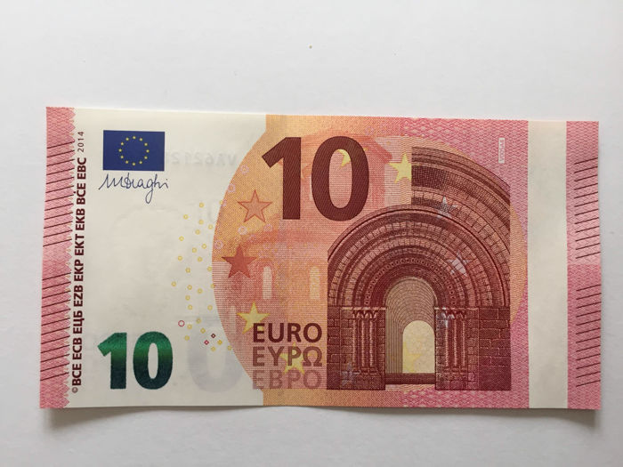 European Union - Spain - 10 euro 2013 - Draghi - White strip -Without hologram
