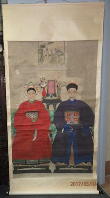 "Large ancestor portraits of a couples with (皇恩欽賜) ""bestowed by the emperor"" badge  - China-  late 19th century"