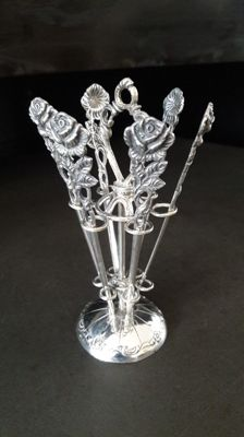 Silver cocktail stick set, Germany, ca. 1970