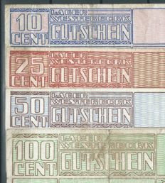 Netherlands - Kamp Westerbork - Complete set of the four banknotes 1944