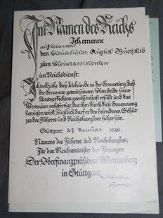 Third Reich certificates, certificate of appointment, driving licence, documents