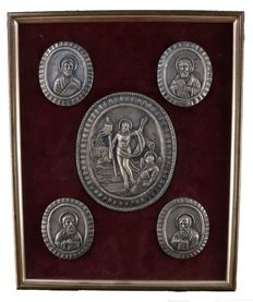 Unique tableau with 5 silver icons, Russia 1900 84 Zolotniki silver