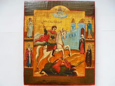 "The russian orthodox icon ""The Saint George"", hand painted,tempera, wood, XX th century."