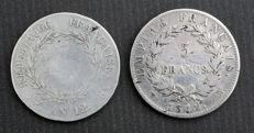 France – 5 Francs Year: 12 K & 1812 W (lot of 2 coins) – Napoléon I – Silver.