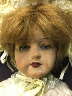 Unique antique fabric doll / France / early 1900