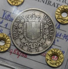 Kingdom of Italy, 1867 - 1 Lira - Vittorio Emanuele II coat of arms - Turin - Silver
