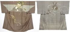 Two silk Juban kimono for men with Japanese traditional design  - Japan - Mid 20th century