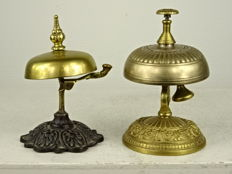 Two copper hotel bells - France - circa 1900