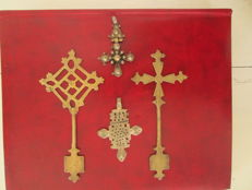 Ethiopian Orthodox crosses in antique silver and brass -Ethiopia - first half of 20th century