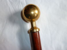 Victorian Style Walking Cane With Brass Ball Top Handle