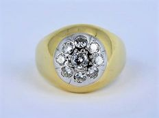 18 kt gold ring with approx. 1.10 ct diamond - size: 21