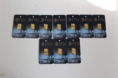 Pure gold 10 bars, 0.10 g each, 999.9/1000, 24 ct