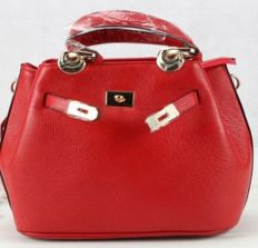 Red, leather bag.