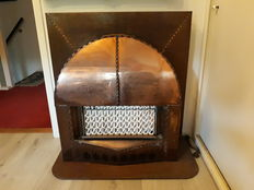 Amsterdam School burnished brass gas fireplace