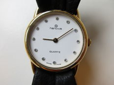 "Hanowa Swiss - ladie's wristwatch - ""butterfly"" leather strap - 1980s"