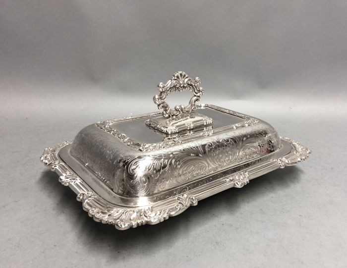 Antique silver plated double serving tray with removable knob, England, ca. 1880