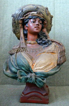 Large hand painted terracotta bust - late XIX century
