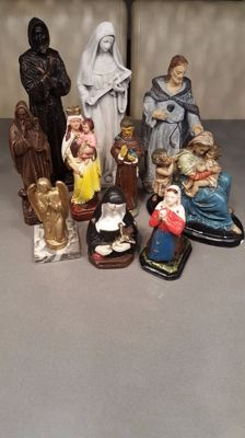 10 plaster saints statues - from different countries - from various dates of the 20th century