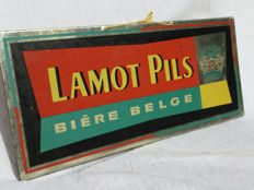 "Old metal advertising panel ""LAMOT PILS"" Bière Belge __ circa 1950"