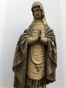 Dolorosa de Calvario (Our Lady of Sorrows of Calvary) in monumental format - sculpture in carved and polychromed wood - Northern Spain - mid 17th century