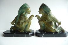 Pair of Art Deco Bookends with Indians - Second half 20th Century - France