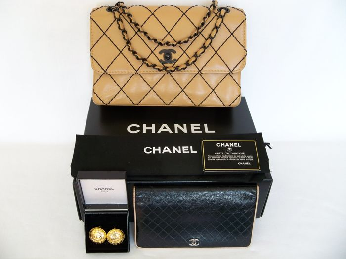 "82ee7207b3e4 Lot of 3: Chanel - ""Wild Stitch"" Classic ""medium"" flap bag ""Beige ..."