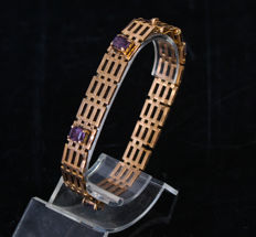 18ct gold bracelet with amethyst