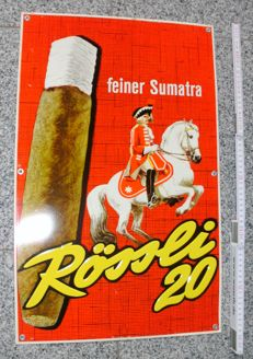 Old German advertising sign/metal sign - Rössli 20 cigars - ca. 1955-60