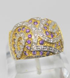 Ring in 18 kt gold. Zirconia size: 18 mm