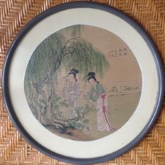 Painting on silk - under glass, signed - China - 19th century