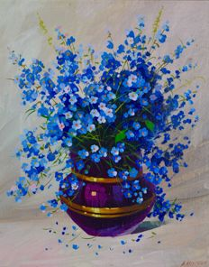 Andrei Ziapoustin. (20th century) Still life of blue flowers.