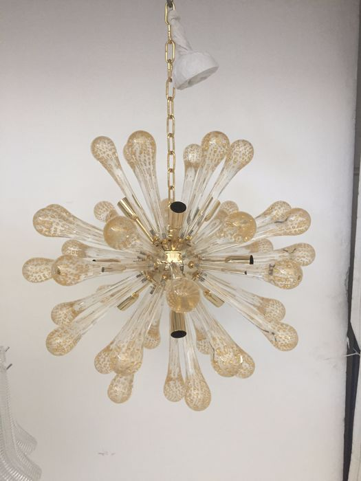Unknown designer - Sputnik Murano glass pendant light, transparent gold