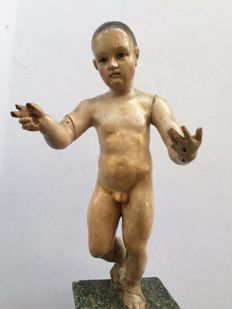 Baby Jesus carving in stucco wood and polychromed - Andalusia - mid 18th century