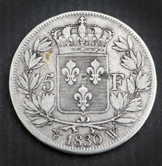 France - 5 Francs 1830 W (Lille) - Charles X - Silver.