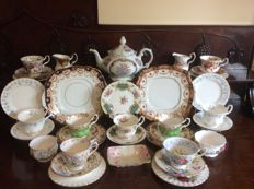 Royal Albert England & T Limoges fine china tea ware - 35 items assorted