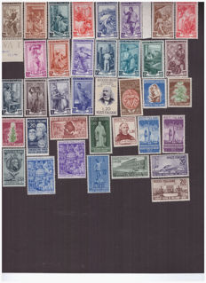 Italian Republic, 1950 -- complete year consisting of 14 issues -- 37 values, Sassone  no. 612–652