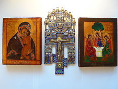 Set of two russian orthodox iсons and the big bronze enamaled russian Cross Crucifixion with Feasts, hand painted, tempera, wood, copper alloy, enamel on cast metal, XX th century..