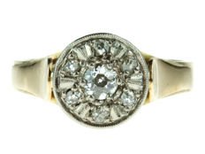 14 kt gold Art Deco ladies' ring, set with diamonds, circa 1930