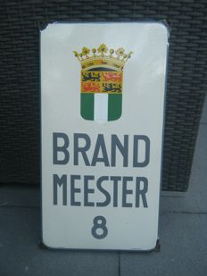 "Old enamel sign ""Brandmeester""."