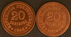 Portugal - 20 centavos 1924 and 1925 - EXCELLENT CONDITION
