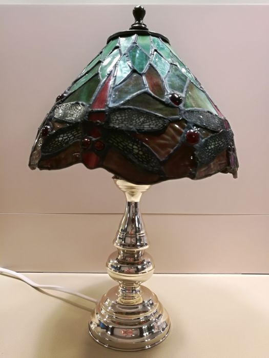 Table lamp in silver 925 with stained coloured glass shade in Art Nouveau Revival style - Florence, Italy, 1990s