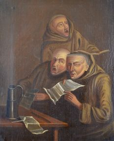 E H Reed (19th century). Three monks singing and reading.